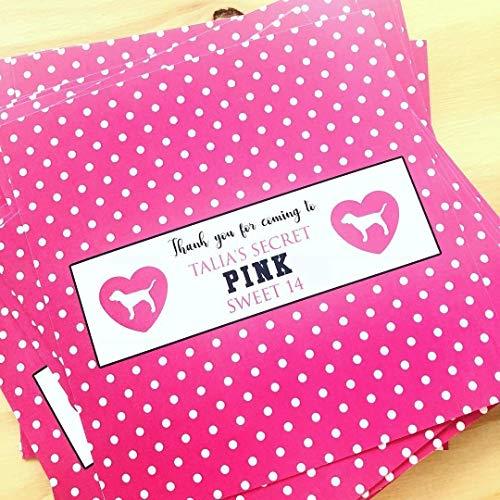 Set of 10 VS Pink Polka Dot Original Candy Bar Labels
