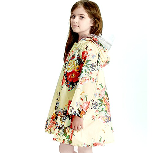 OLizee Girl's Floral Print Lightweight Hooded Outerwear Raincoat(XL) by OLizee (Image #1)