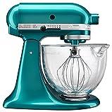 kitchenaid 5 quart whisk - KitchenAid KSM155GBSA 5-Qt. Artisan Design Series with Glass Bowl - Sea Glass