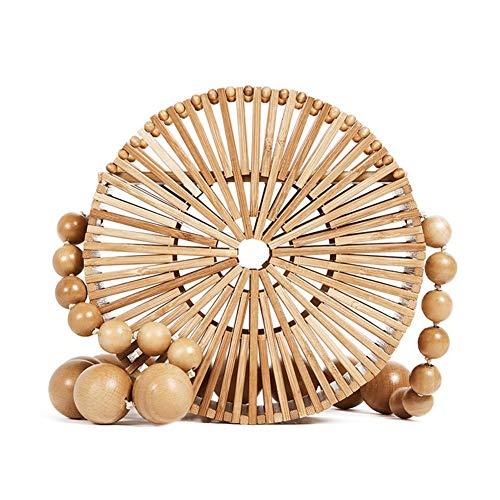 (Round Bamboo Shoulder Bag Straw Basket Purse Summer Beach Handbag)