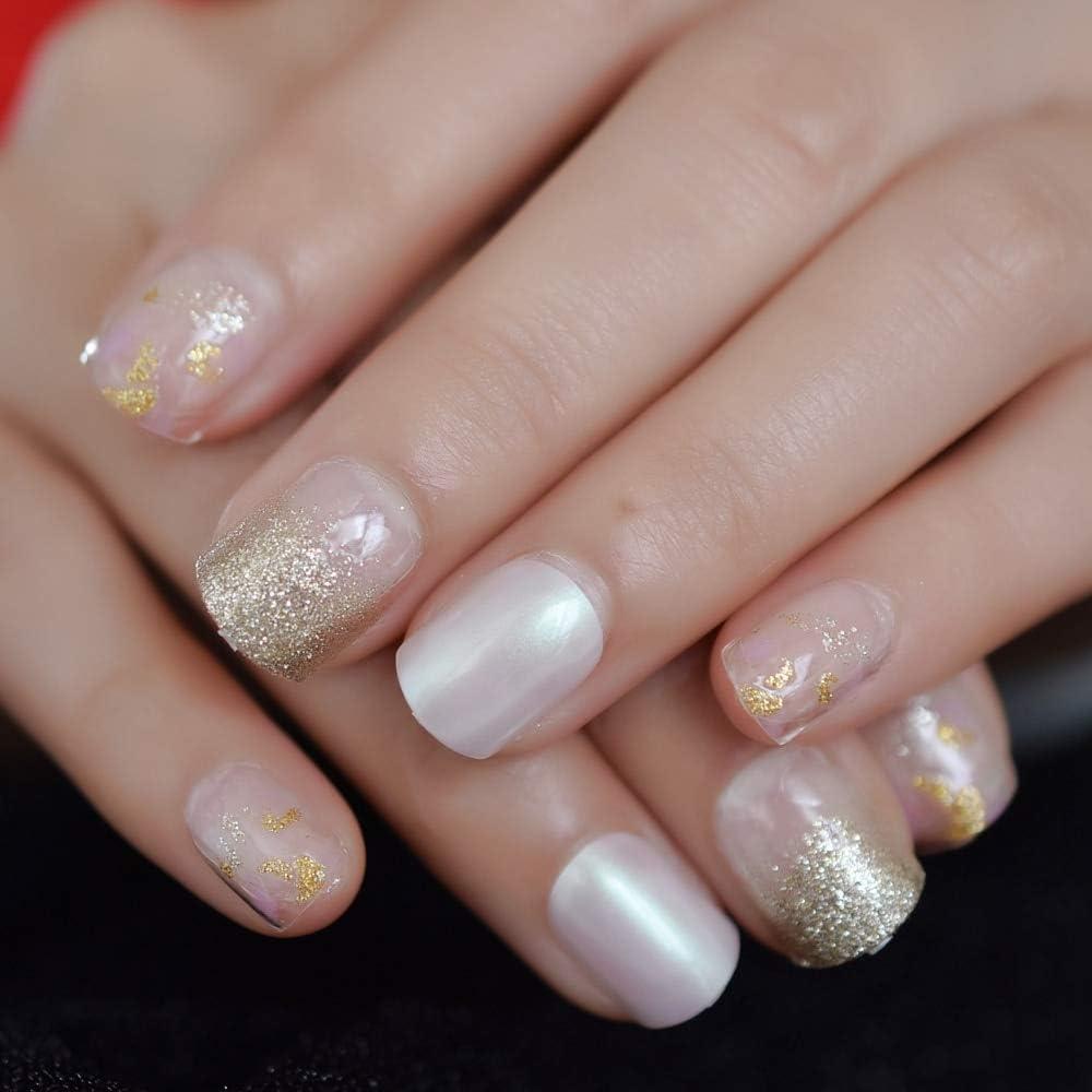 EchiQ uñas postizas de color dorado platino brillante ...