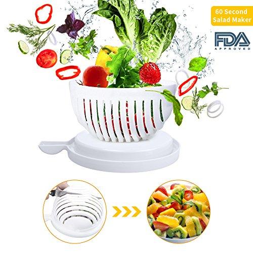 myHomie 60 Second Salad Maker, Food Grade ABS Vegetable Cutter, Salad Chopper/ Salad Slicer (white) (Round Vegetable Server)