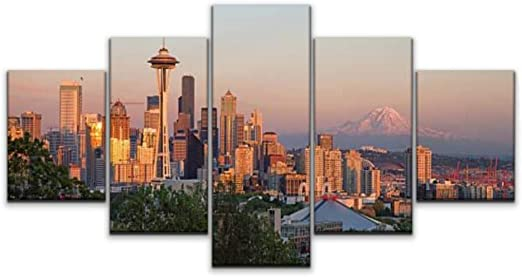 Seattle Skyline 5 Piece Canvas Art Wall Art Picture Painting Home Decor