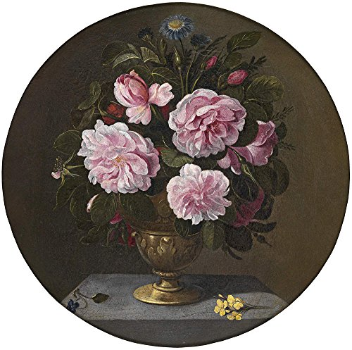 polyster Canvas ,the Amazing Art Decorative Prints on Canvas of oil painting 'Camprobin Pedro Jarron de bronce con rosas 17 Century ', 8 x 8 inch / 20 x 20 (Seventeen Magazine Halloween Nails)