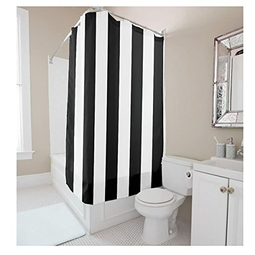 YYT Shower Curtains Black And White Vertical Stripes Curtain 80OFF