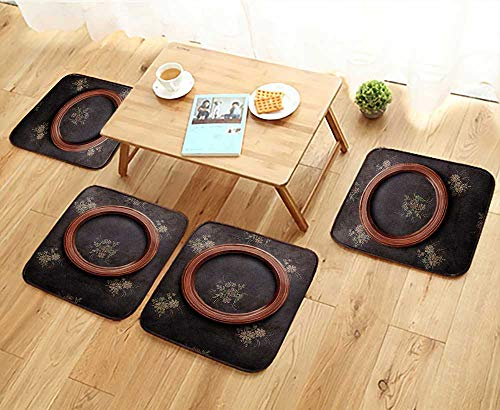Elastic Cushions Chairs Round Frame on Black Shabby Wallpaper for Living Rooms W29.5 x L29.5/4PCS Set