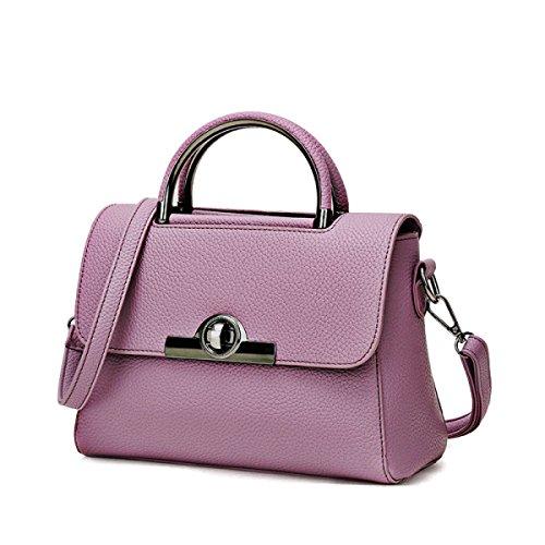 FZHLY Borsa Nuova Signora Del Modello Del Litchi Twist Lock Oblique Croce,Purple