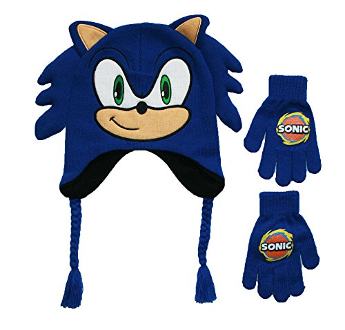 Sonic Little Boys' Boom Winter Beanie and Glove Set, 100% Acrylic Knit, Royal, One Size