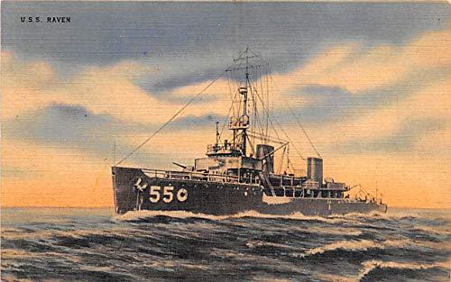 Military Battleship Postcard, Old Vintage Antique Military Ship Post Card USS Raven Unused