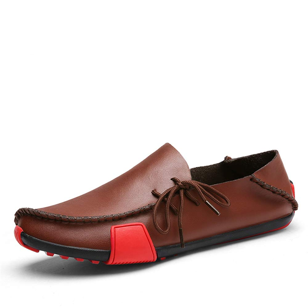 BAIQUAN New Leather Mens Loafers Fashion Shoes Handmade Moccasins Soft Leather Slip on Men's Boat Shoe Plus Size 38~47 Brown by BAIQUAN US