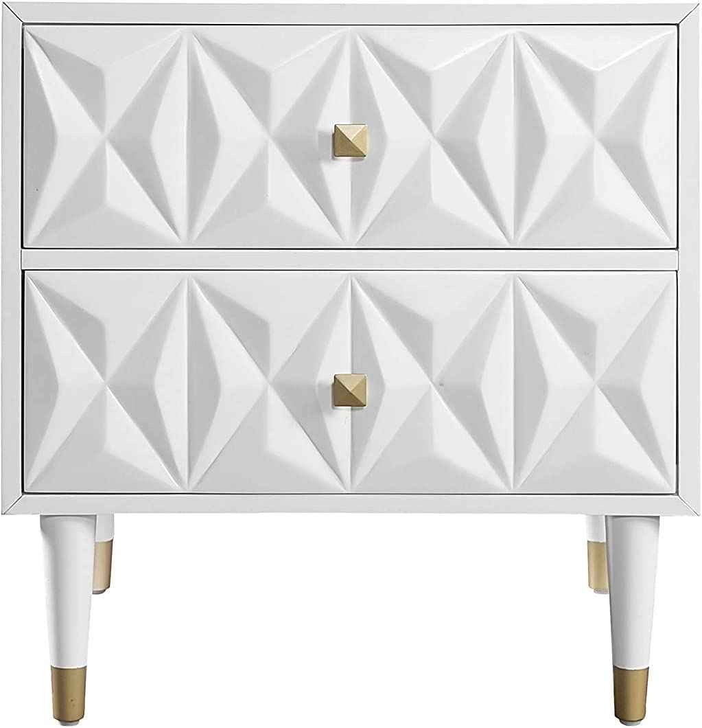 Linon Home Décor Sheerah Two Drawer Geo Texture White Nightstand, Gold