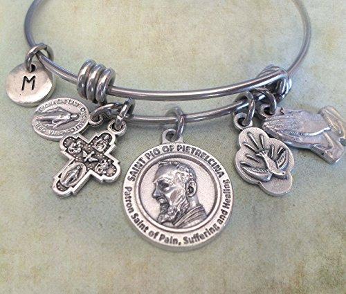 St. Padre Pio Bangle Bracelet, Patron Saint of Healing, Pain and Suffering (Padre Pio Saint Patron)