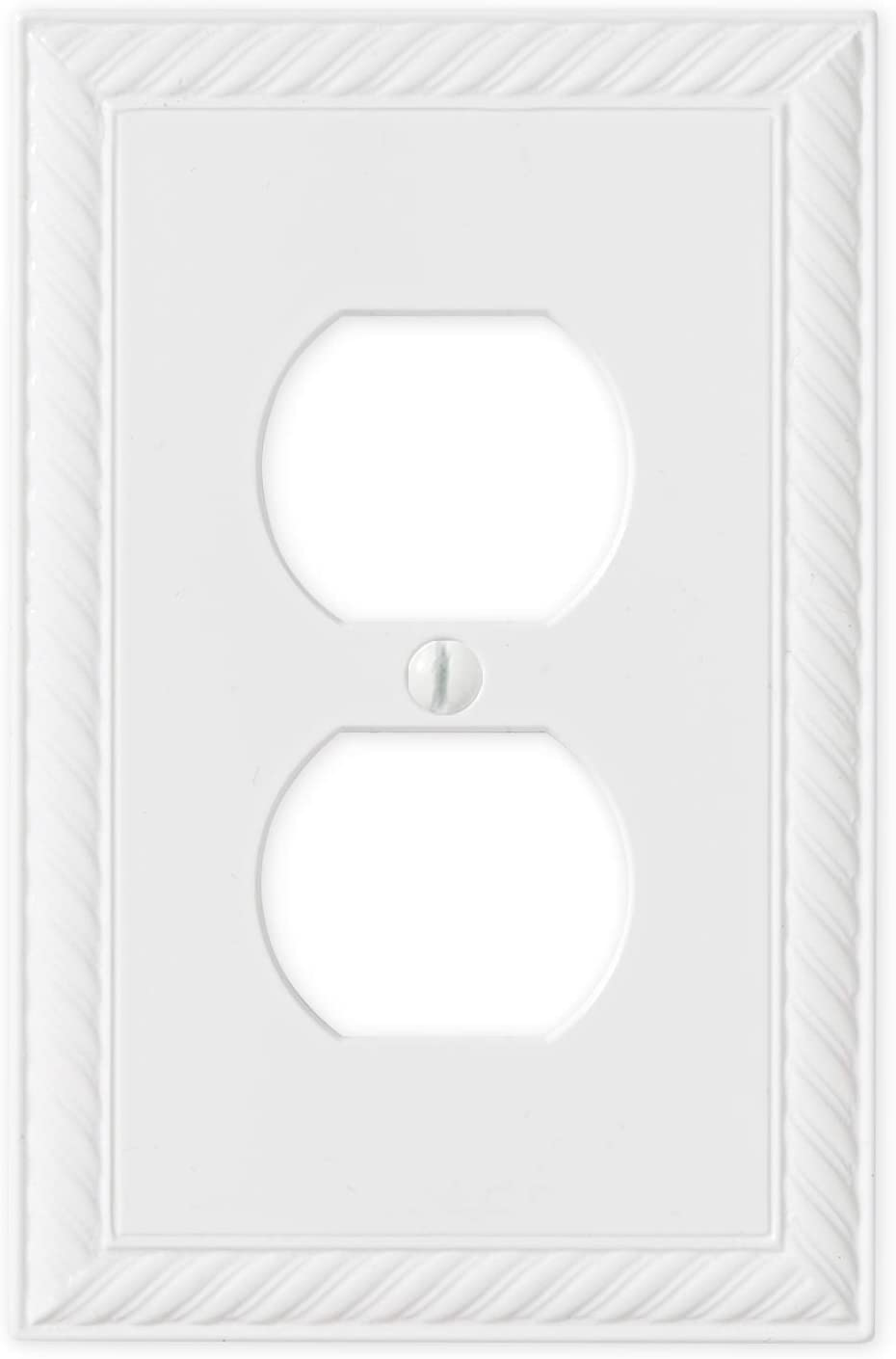 Single Duplex - White Polished Outlet Cover Rope Decorative Light Switch Cover Wall Plate