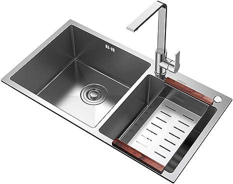 Amazon Com Xing Hua Shop Kitchen Bar Sinks Kitchen Sinks Kitchen Sink Double Trough Package Stainless Steel Kitchen Sink Sink Bowl 1 5 Bowl Thick Hand Tank Single Bowl Color Silver Size