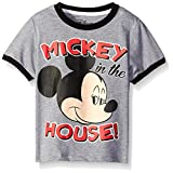Disney Little Boys' Toddler Mickey Mouse All-Over Print Short Sleeve T-Shirt, Grey, 3T
