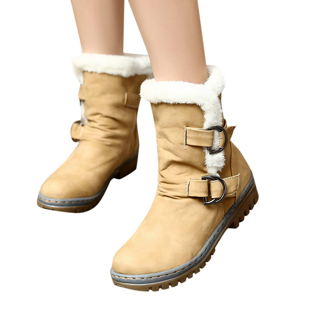 MYMYG Botas de Nieve para Mujer Moda Botas de Nieve Mujer Botines de Mujer Zapatos de Nieve cálida Botas de Plataforma Zapatos de tacón Zapatillas Zapatos Interiores