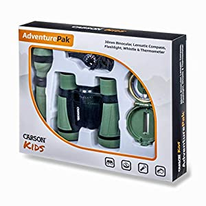 Carson AdventurePak Containing 30mm Kids Field Binoculars, Lensatic Compass, Flashlight and Signal Whistle with a Built…