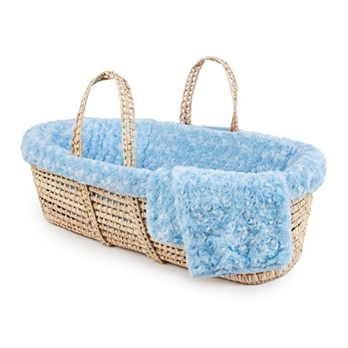 Tadpoles Twisted Fur Moses Basket and Bedding Set, Light Blue