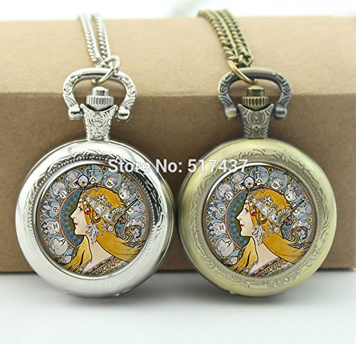 au Zodiac Pocket Watch Photo Locket Necklace Vintage Pocket Watch Necklace (Nouveau Locket)