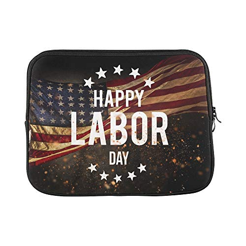 Design Custom Happy Labor Day Banner American Patriotic Sleeve Soft Laptop Case Bag Pouch Skin for MacBook Air 11