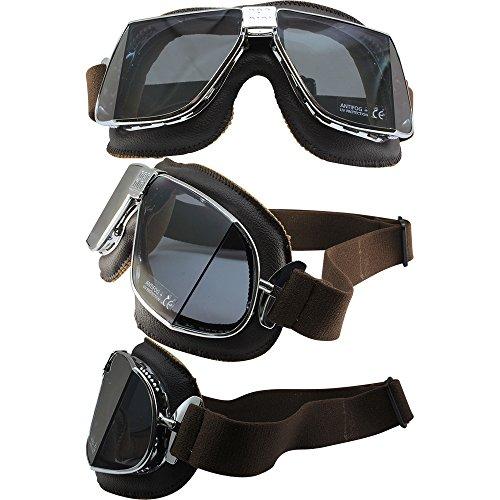 Nannini Custom Padded Motorcycle Goggles Hand-Sewn Brown Leather/Chrome Frames Grey Anti-Fog Lenses ()
