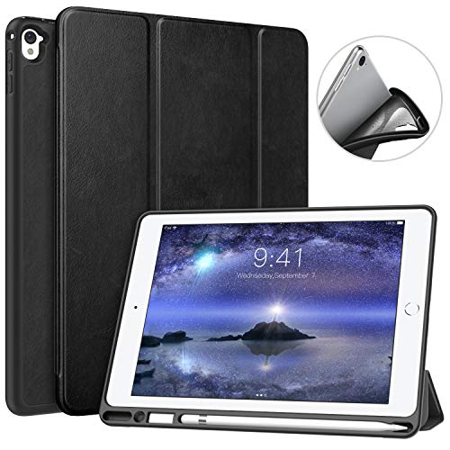 MoKo Case for iPad Pro 9.7 with Apple Pencil Holder - Slim Lightweight Smart Shell Stand Cover Case with Auto Wake/Sleep for Apple iPad Pro 9.7 Inch 2016 Tablet, Black (Best Leather Case For Ipad Pro 9.7)