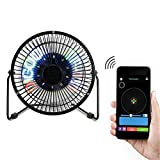 Portable Mini Programmable Bluetooth Desk Fan with Clock and Temperature Display,DIY Real-time Pictures Display,5 inch Metal Frame USB Powered Flashing LED Display Personal Cooling Fan