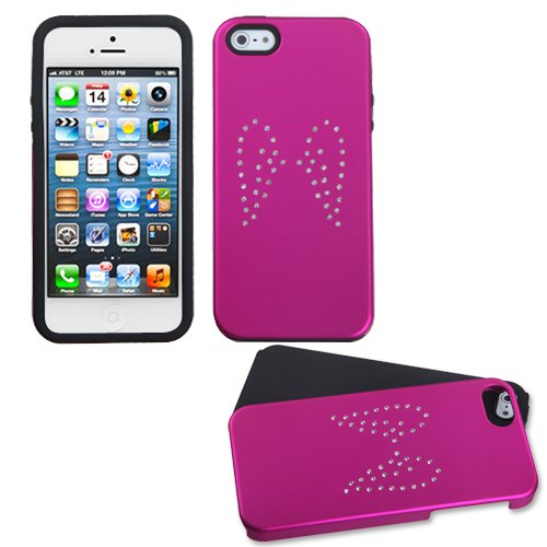 - MYBAT Diamond Angel Wings Titanium Solid Hot Pink/Solid Black Frosted Fusion Protector Cover ( with Package ) for APPLE iPhone 5