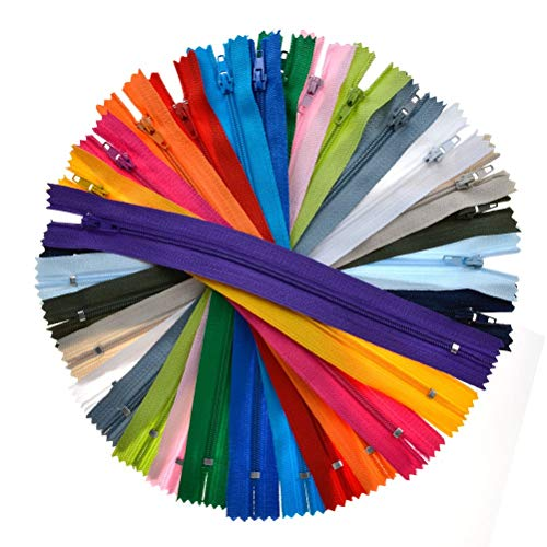 TIMESETL 9-inch #3 Nylon Coil Zipper Bulk 125pcs 20 Colors Closed End for Tailor Sewer (Sewing Zipper)