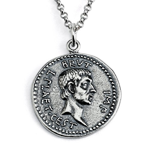 Azaggi Sterling Silver Handcrafted Marcus Junius Brutus Ancient Coin Pendant Necklace (18)
