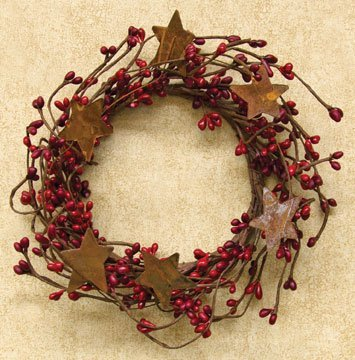 Pip Berry Ring Rusty Stars Red Burgundy Berries Country Primitive Floral Décor ()