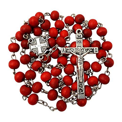 5 Pcs Lot Red Rose Rosary Beads Catholic Necklace Jerusalem Cross Centerpiece Jesus Crucifix Religious Gift