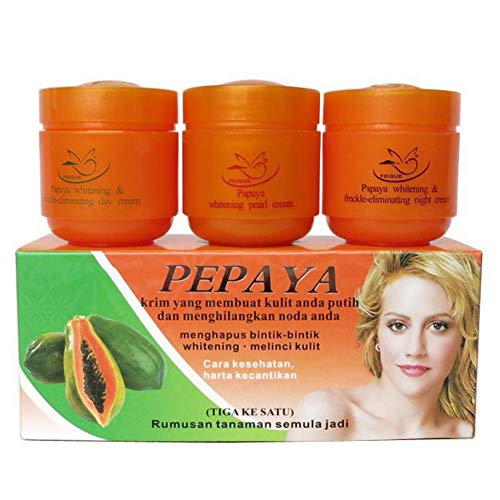 Allouli Pack of 3 Papaya Whitening Creams Set Freckle Removal Cream Day Night Pearl Moisturizer Anti Aging
