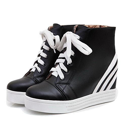 Allhqfashion Women's Round Closed Toe Low-Top High-Heels Assorted Color PU Boots Black UGlabx8