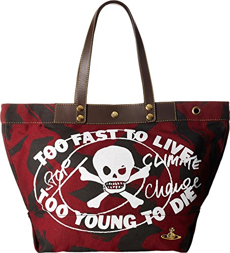 Vivienne Westwood Unisex Africa Too Fast to Live Shopper Maroon One Size by Vivienne Westwood