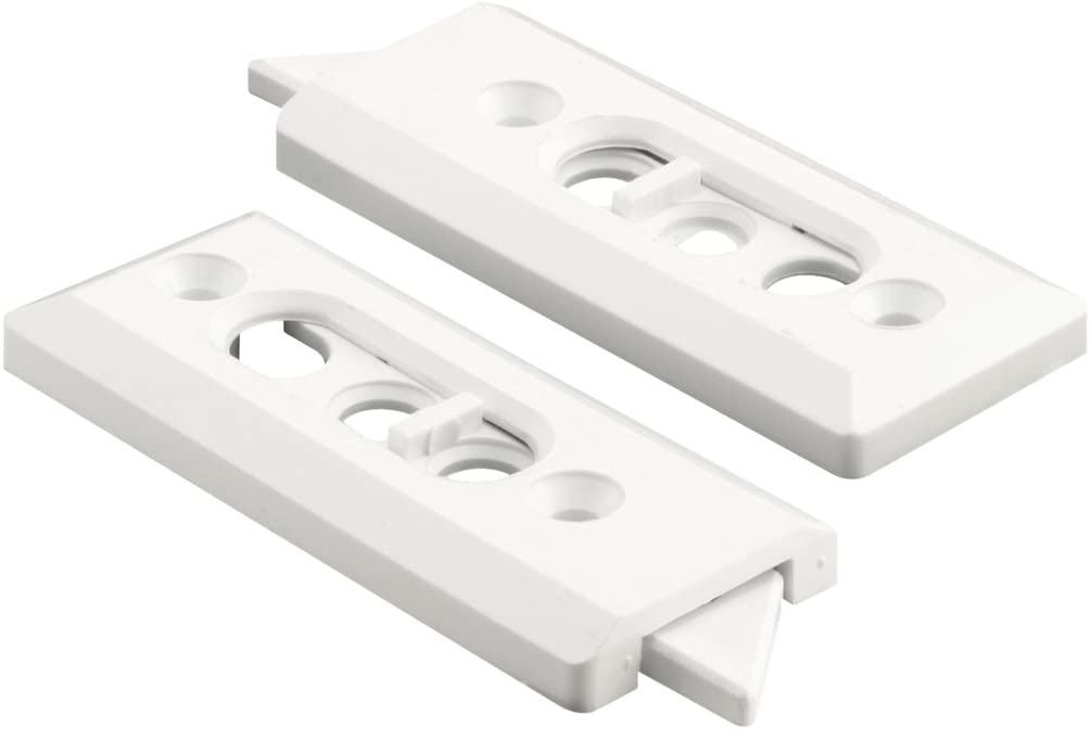 Prime-Line F 2728 Tilt Latch Pair, White Plastic Construction, Spring Loaded, 2-1/8 in. Hole Centers