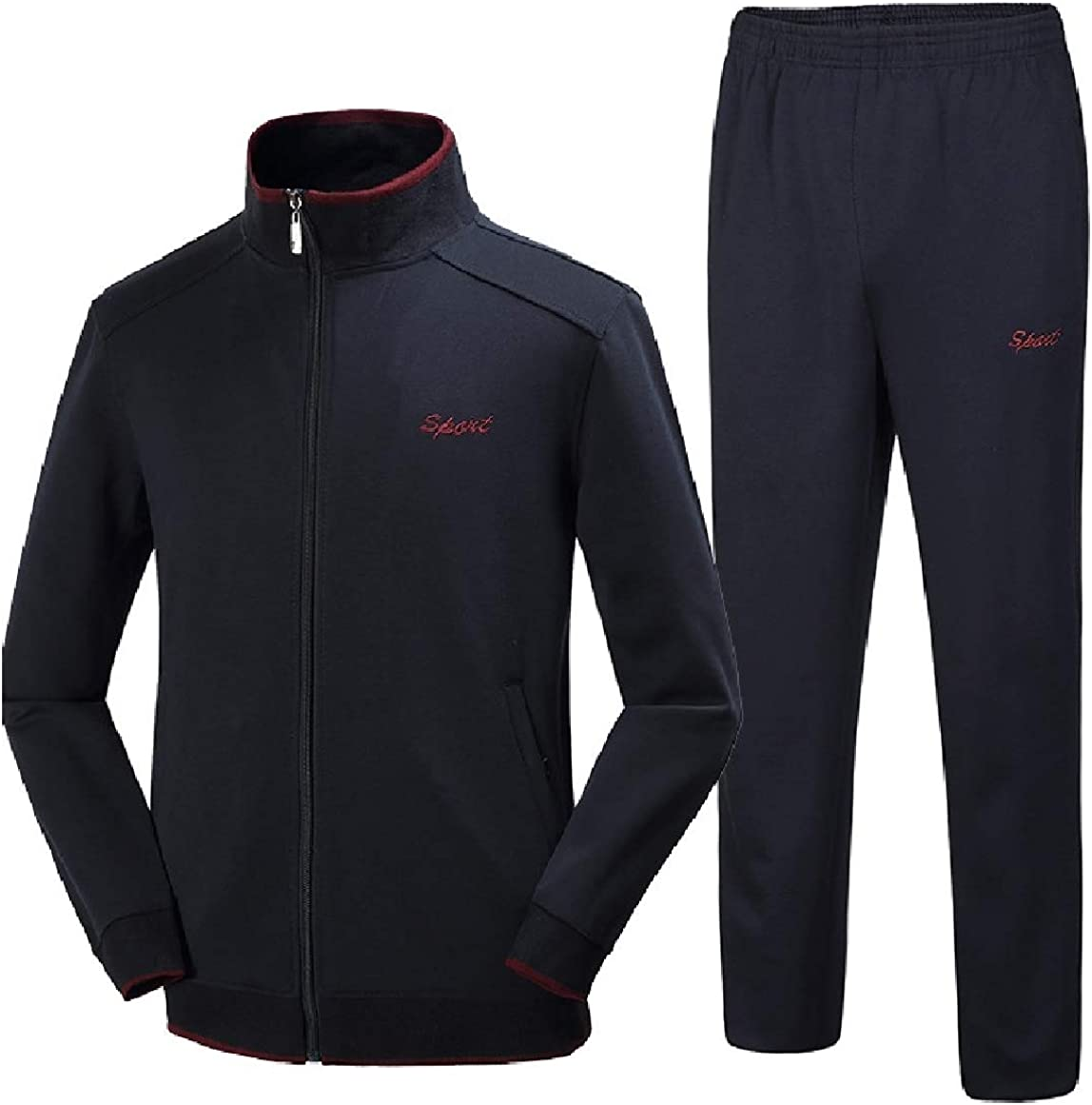 RingBong Mens Two-Piece Spring//Fall Sports Plus Size Tops Jackets and Sweatpants Sets