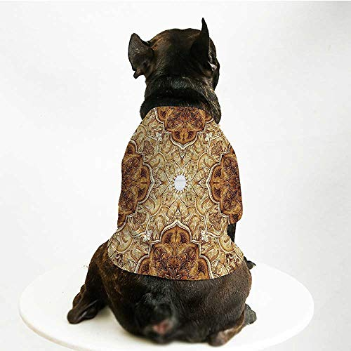 YOLIYANA Antique Skin Friendly Pet Suit,Vintage Style Leaf Pattern Classic Islamic Architectural Elements Folk Artwork for Pet Dogs,M
