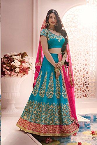 IWS Womens Aqua Blue Color Striking Lehenga Choli With Lace Work 83825