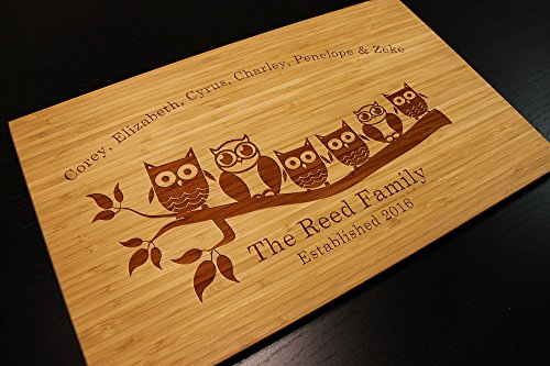 Personalized Owl Family Cutting Board Custom Engraved for Kitchen or Cabin Dining Living Room or Display Bamboo or Beech Wood 17