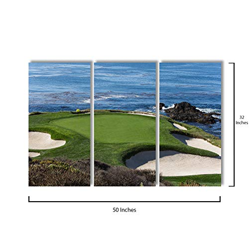 3 Piece Canvas Wall Art - Pebble Beach Golf Monterey California - Modern Home Decor Stretched and Framed Ready to Hang - 16