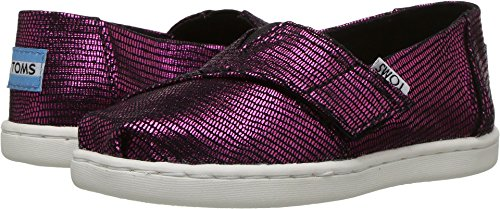 TOMS Kids Baby Girl's Alpargata (Infant/Toddler/Little Kid) Fuchsia Distressed Foil 3 M US Infant (Toddler Canvas Fuchsia Footwear)