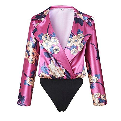 Wrap Satin Blouse - ❤️SFE-Women Tops,Women Tank,Women Jumpsuit,Women Floral Print Tuxedo Wrap Over Satin Bodysuit Jumpsuit (XL, Hot Pink,)
