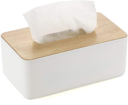 WOOD MEETS COLOR Caja de pañuelos de cosméticos Caja de pañuelos rectangular con tapa de roble para la caja de pañuelos práctica multifuncional para el hogar y el automóvil (23X13X10CM): Amazon.es:
