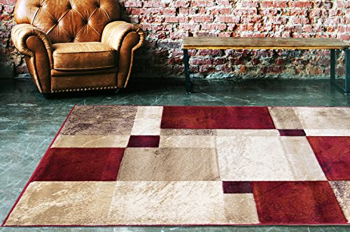 Tan Plush (Adgo Atlantic Collection Modern Abstract Geometric Rectangular Soft Pile Contemporary Carpet Thick Plush Stain Fade Resistant Easy Clean Bedroom Living Room Floor Rug, Red Tan Ivory, 6' x 9')
