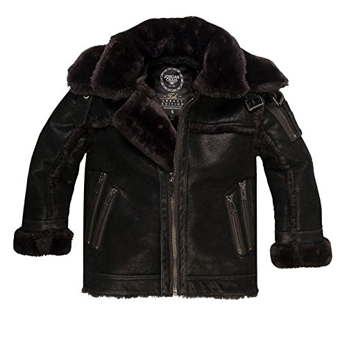 Jordan Craig Double Collar Calagary Shearling Men's Jacket Black 91313aa-black (Size L) by Jordan Craig