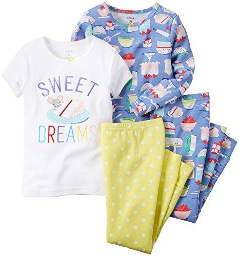 Carter's Little Girls' 4 Piece PJ Set (Toddler/Kid) - Dessert - 2T