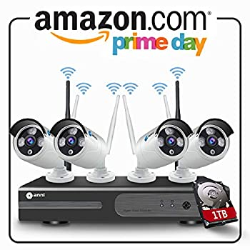 Image of Surveillance DVR Kits Anni 4CH 1080P HD CCTV Wireless Security System, WiFi NVR Kit and (4) 2.0MP Megapixel Wireless Indoor Outdoor Bullet IP Cameras, P2P, 65ft Night Vision,with 1TB Hard Drive