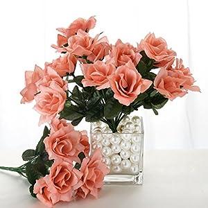 Tableclothsfactory 84 Artificial Open Roses for DIY Wedding Bouquets Centerpieces Arrangements Party Home Wholesale Supplies - Blush 21