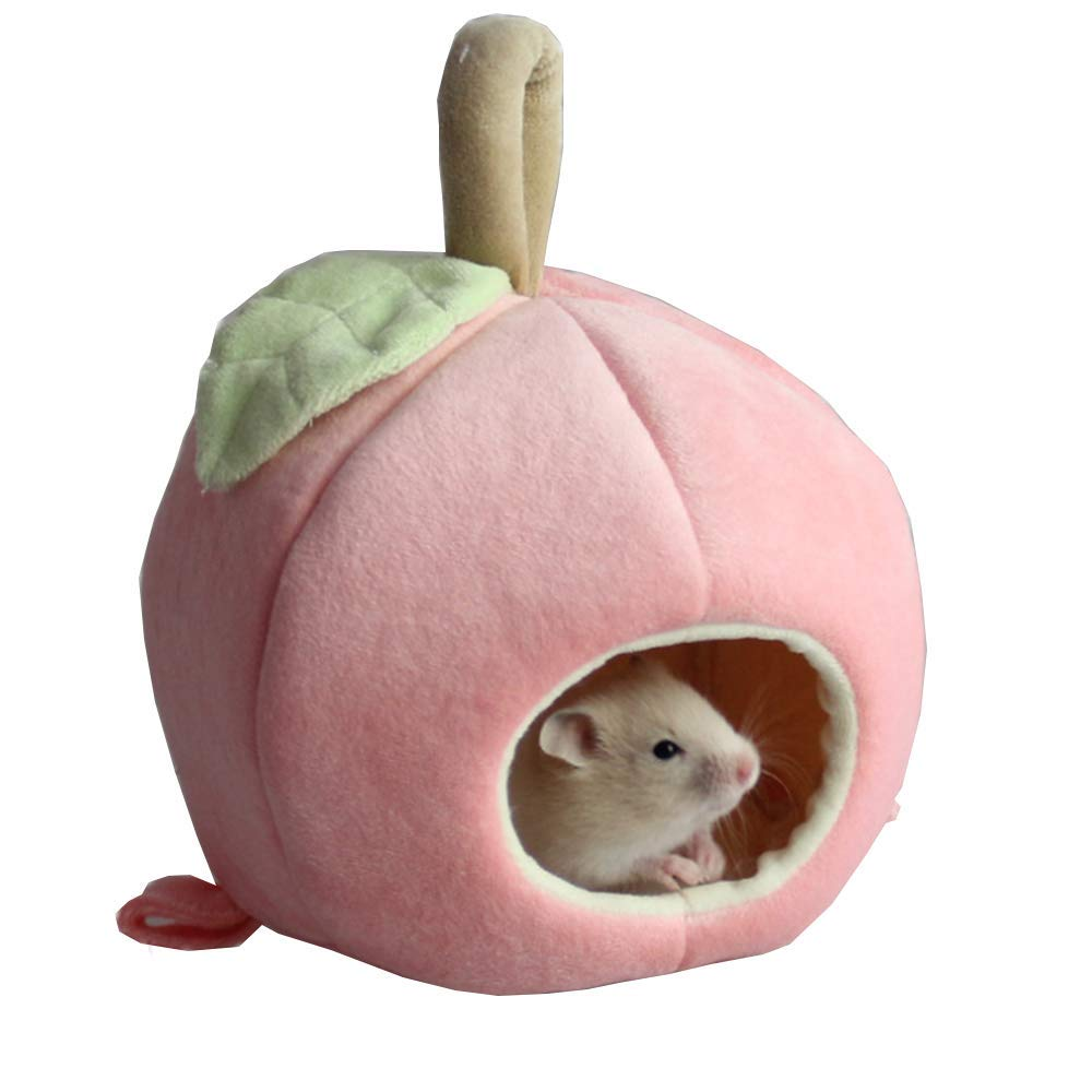 ANIAC Pet Winter Hanging Fruit House Hammock Warm Bed Nest Accessories for Hamster Guinea Pig Hedgehog Chinchilla Hamster and Small Animals (Pink)